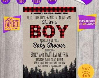 Lumberjack Baby Shower invitation, Little lumberjack Baby Shower invite, Buffalo Plaid Baby Shower invitation, Lumberjack Baby Shower Party
