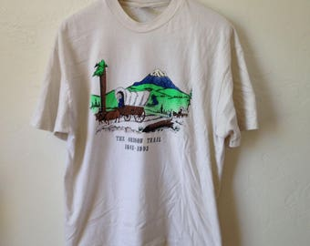 Vintage Historic The Oregon Trail 1993 Double Graphic T-Shirt - Sz XL - Made in USA
