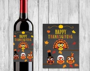 Thanksgiving Wine Label | Chalkboard Owl | Happy Thanksgiving Wine Bottle Label | Thanksgiving Printables | Thanksgiving Pilgram Turkey Wrap