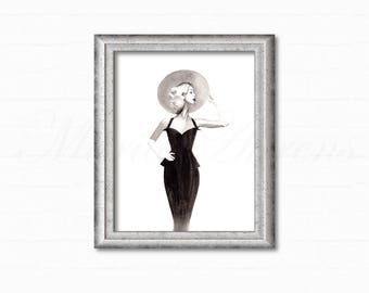 Original Watercolor Painting, Vintage Dress and Hat, Vintage Inspired, Fashion Illustration, Home Decor, Office Decor, Gifts For Her, 8x10