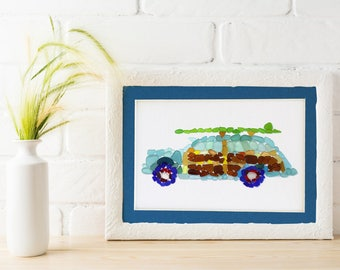Sea Glass Woody Classic Car Matted Print, Seaglass Mosaic of Surfer Car, Multiple Sizes