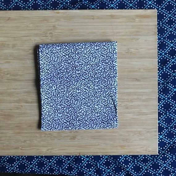 """Premium Cotton Fabric Fat Quarter - Designer Fabric - Quilting Fabric - Fat Quarters 18"""" x 21"""" Navy Blue Vines Print"""