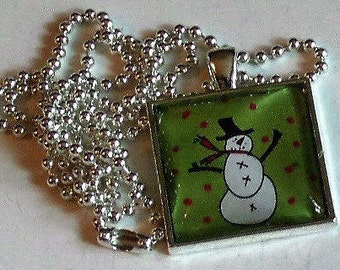 Snowman Necklace - Pendant Necklace - Christmas Necklace - Christmas Gift