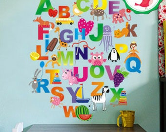 Nursery Alphabet, Alphabet Wall Decal,  Colorful Alphabet letters decals, Alphabet  Nursery, Abc Wall decals
