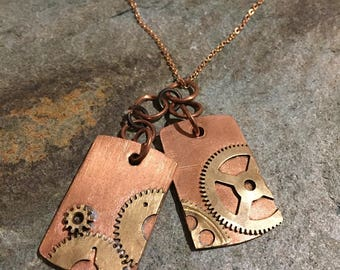 Steampunk Industrial Style Dog Tag Textured Pendant, Dogtag Shaped Steam Punk Necklace And Rose Gold Tone Chain