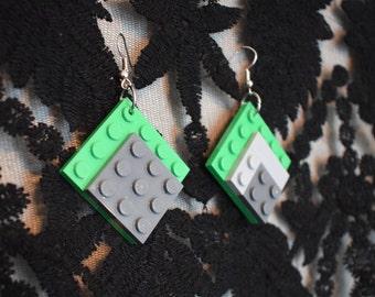 Handmade Grey and Green LEGO earrings