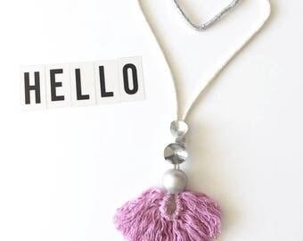 Cotton Candy Rope Tassel Necklace, Fringe Necklace Boho Style Necklace, Statement Jewelry.