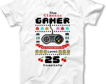 25th Birthday T Shirt Geek TShirt Custom Age Nerd Clothes Bday Gift Ideas For Him The Classic Gamer Level 25 Complete Mens Tee DAT-1406