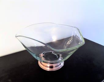 Vintage Copper & Glass Bowl Compote Pedestal Base