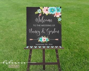 Mint Pink Floral Wedding Welcome Sign Boho Floral Digital Black Chalkboard Wedding Sign Tribal Blackboard Wedding Poster Tribal Sign - WS010