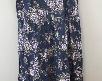 1970s VINTAGE Dorothy Perkins blue floral cotton maxi gypsy dress UK 10/12 summer