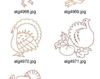 Thanksgiving Turkeys ( 5 Machine Embroidery Designs from ATW ) XYZ17I