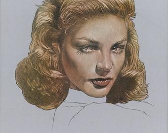 Lauren Bacall Portrait-Original art