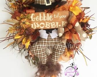 Turkey Wreath, Fall Wreath, Gobble Wreath, Thanksgiving Wreath, Happy Fall Y'all Wreath