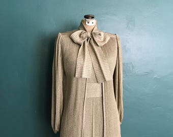 Francesca for Damon. 60s Dress. Silver Metallic Dress. Vintage Knitwear Dress. 60s Vintage Dress. Dress with Cape. Vintage Evening Wear