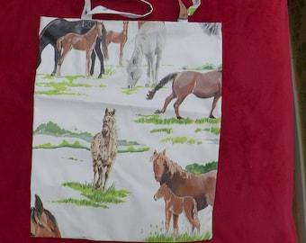 Market Bag, Shopping Bag, Tote Bag, Shoulder Bag, Horses Pattern, Made from PVC