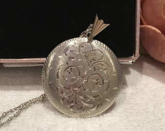 "Superb 1970""s Vintage ENGLISH Sterling Silver LARGE Round LOCKET-Beautifully Engraved-Birmingham 1977-53.5cm (21"") Sterling Silver Chain"