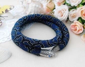 Blue snake jewelry for woman Beaded crochet woman necklace Chunky necklace statement for lady Gift for women day Blue girl's jewelry trendy