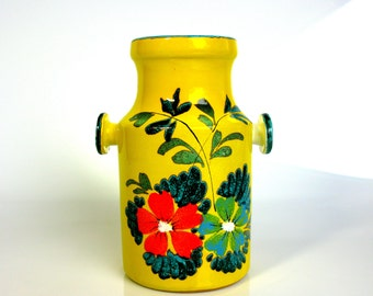 "Mid Century / West German Vase / Yellow & Turquoise / Hand Painted Vase / With Handles / Studio Vase / 8"" / Utensil Holder / Pottery Vase"