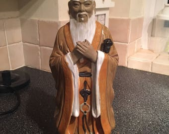 Vintage Large Chinese Shiwan Mud Man Monk Figurine from 1950s