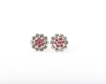 Sterling Silver Pave Radiance Stud Earrings, Swarovsky Crystals, 7mm Flower, Light Rose(Pink) Color, Unique BlingBling Korean Style