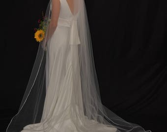 "108"" Cathedral Veil with 1/8"" Satin Ribbon Edge"