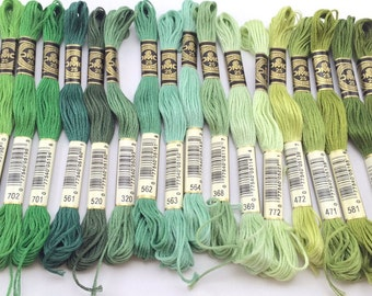 Greens from Vibrant to Subtle: DMC Classic 6 Strand Embroidery Floss (100% Egyptian cotton) BLACK is sold out