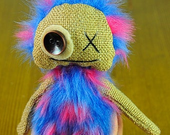 Plush Monster Hand made Monster Plush Toy Stuffed Monster Soft Kid's gift Cute baby toy FREE SHIPPING Baby gift Rainbow OOAK Booo Art toy