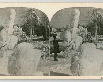 Stereoview Card, Luna Island, Niagara Falls in Winter, Lithograph