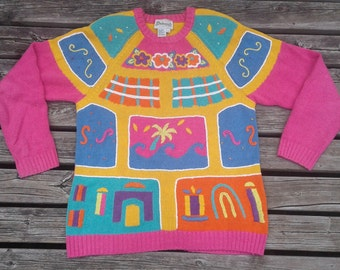 Vintage 80's Knit Grandma Textured Sweater Small