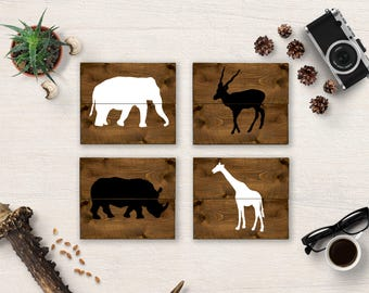 Safari Nursery, Safari Animals, Safari Nursery Set, Safari Nursery Decor, Elephant Sign, Giraffe Sign, Rhino Sign, African Animals, Wall Art