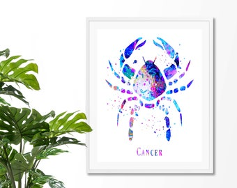 Cancer #4 Watercolor Astrology Art, Cancer Print, Cancer Sign ,Cancer Zodiac, Cancer Wall Art, Cancer Poster, Gifts for Cancer, Archival Art