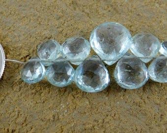 Aquamarine | Faceted Heart Briolette Beads | Mini Strand