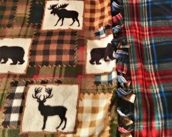 Cozy-Cabin N the WOODs! Handmade Holiday fleece blanket designed by JAX. A Wilderness theme that makes great accent throw in any cabin home.