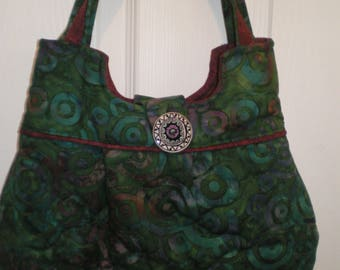 Green swirl print bag