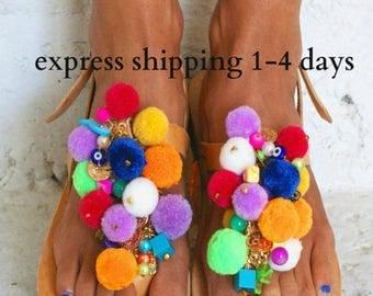 20% OFF EUPHORIA / Pom Pom sandals/ T-strap sandals/ boho sandals/ colorful sandals/ handmade Greek sandals/ boho flats/ decorated sandals