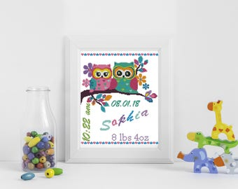 Baby cross stitch pattern birth announcement, cross stitch pattern owls, personalized birth gift,