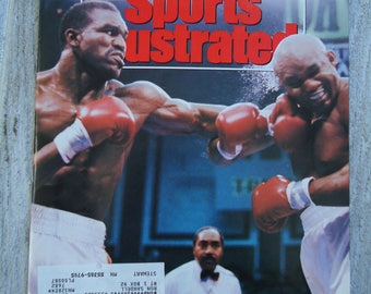1991 Evander Holyfield, Boxing decor, George Forman, Vintage boxing, 1991 magazine, Vintage SI, Sports decor, Man cave decor, boxing gift