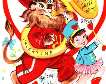 "Lion playing Tuba Die-Cut Vintage Fuzzy Valentine's Day Card 7.5"" Used"
