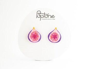 Fig Earrings, fig studs, fruit earrings, food jewelry, common fig fruit, vegan earrings