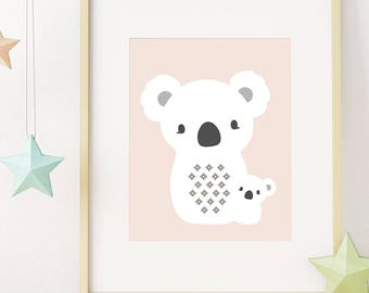 Koala Nursery Wall Art, Girl Nursery Decor, Digital Print, Printable Wall Art, Baby Gift, Modern Nursery Art, Kids Wall Art, Baby Girl