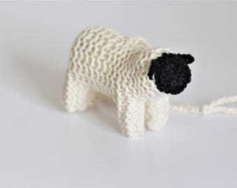 Sheep Baby Rattle Toy - Lamb Toy - Play Gym - Car Seat Toy - Pram Toy - Stroller Mobile - Organic Cotton