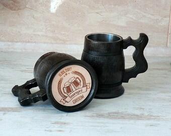 Set 7 Personalized Wooden Beer Mug Groomsmen gift ideas Tankard Steins Father day Best Man Gift Groomsman Gift for men Dad Valentines gift