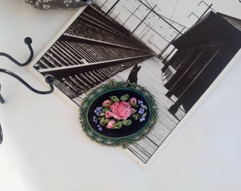 Pink rose On pendant Vintage style Embroidered silk ribbon pendant Elegant pendant Pink rose on black Embroidery Ribbons embroidery
