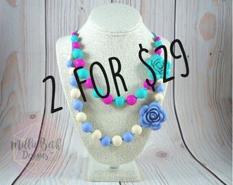 Flower Teething Necklace Silicone Jewelry | Bundle Deal | Flower Necklace | Breastfeeding Babywearing Necklace | Custom Chewelry for Mom