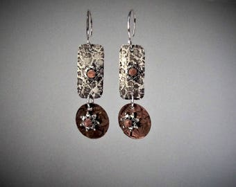 Item 4200-28 Handcrafted Sterling Silver and Copper Textured Lightweight Rectangle Leopard Style Dangle Earrings