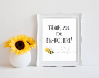 "Thank You For Bee-ing Here 8""x10"" Bee Baby Shower Decorations 