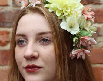 Stunning and Unique Flower Fascinator | Headdress in Pink, Cream and White Realistic Flowers