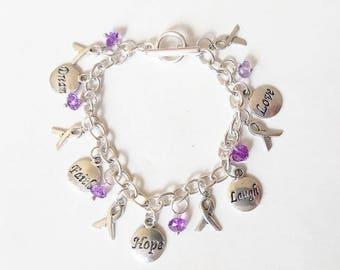 Purple Ribbon Charm Bracelet ~ Alzheimer's, Crohn's Disease, Fibromyalgia, Lupus, Migraine, Pancreatic Cancer Awareness Bracelet Jewelry