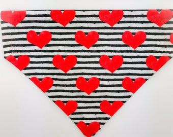 """Over the collar (slide on)  Pet Bandana - Size MED/LARGE - """"Read Between The Lines""""  pet bandana"""